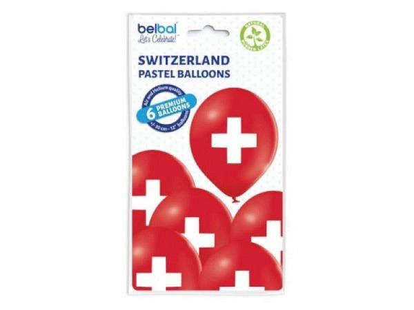 Ballone Schweizerkreuz rot rund 10Stk mit Schweizerkreuz