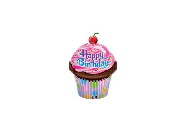 Ballone Folie luftbefüllt Cupcake-Form Happy Birthday