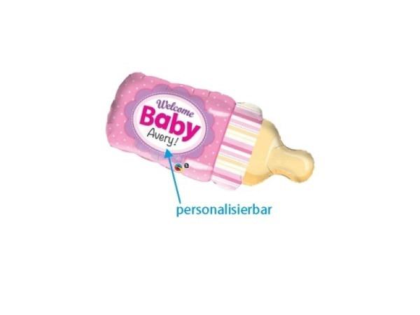 Ballone Folie ungefüllt Babyflasche rosa