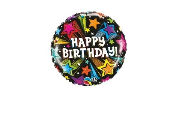 Ballone Folie ungefüllt Scheibenform Happy Birthday schwarz