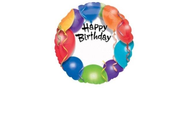 Ballone Folie ungefüllt Scheibenform Happy Birthday personalisierbar