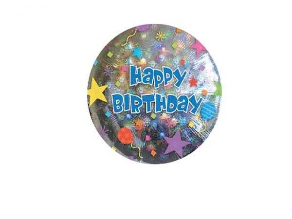 Ballone Folie ungefüllt Scheibenform Happy Birthday silber