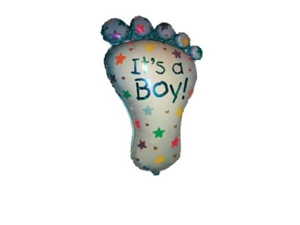 Ballone Folie ungefüllt Baby-Fuss hellblau