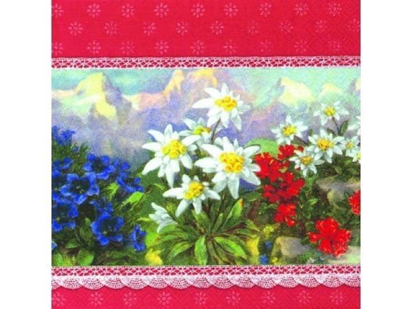 Servietten Ihr Lunch Alpenglühen, rot, mit Alpenblumen