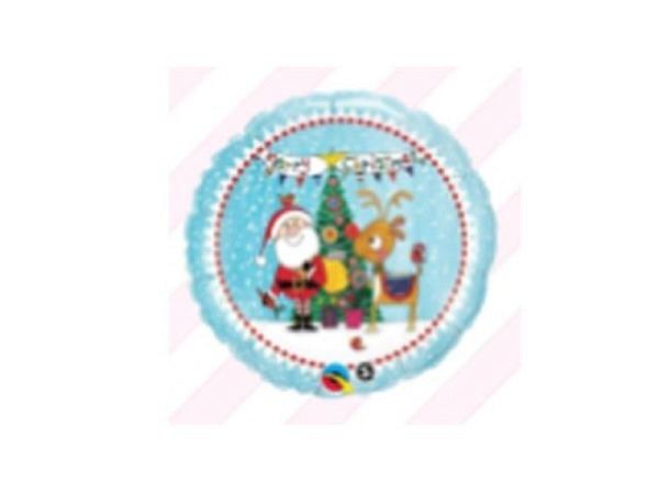 Ballone Folie ungefüllt rund mit Weihnachtsmann und Renntier