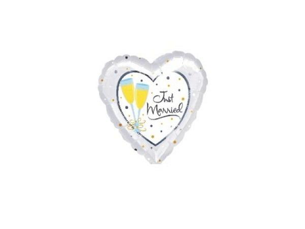 Ballone Folie ungefüllt Herzform Just Married