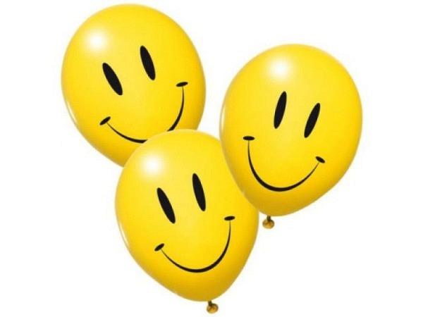Ballone Party Smiley gelb mit aufgedrucktem Smiley-Gesicht, 20Stk.