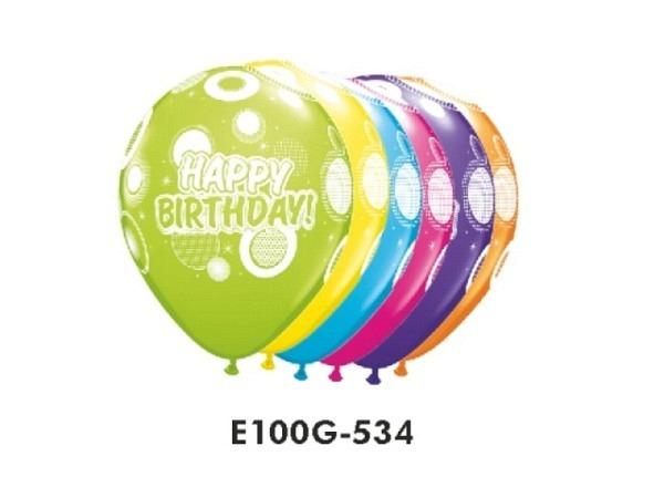 Ballone Naturkautschuk ungefüllt rundlich Happy Birthday