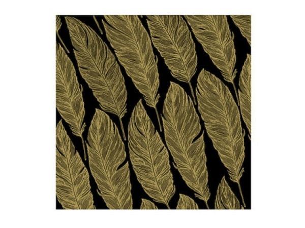 Servietten Atelier Feather schwarz-gold 33x33cm