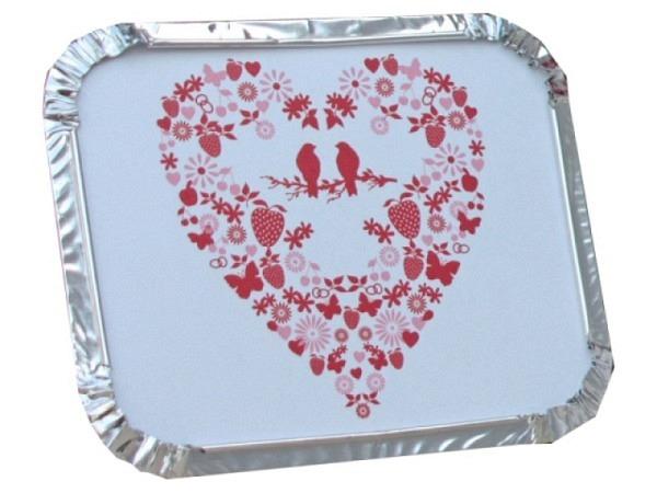 Aluschale Sinnwert Herz mit Vogel 14x22,5x5cm, 3Stk