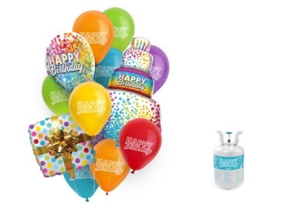 Ballone Folie ungefüllt Musik Happy Birthday bunt