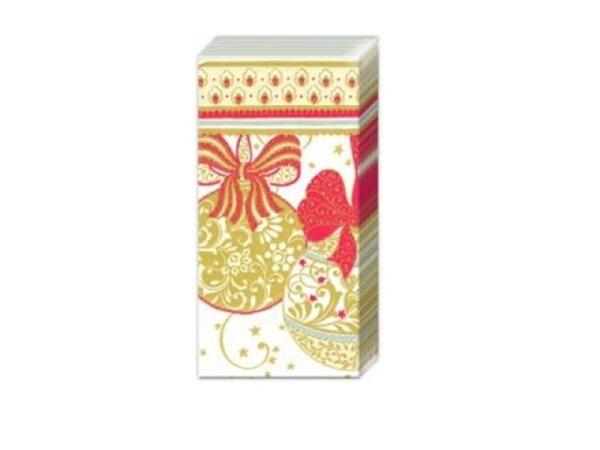 Taschentuch Ihr Navidad Decorativa Weinachtskugeln gold, rot