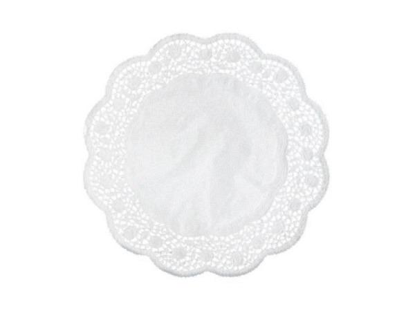 Tortenpapier Demmler weiss rund D: 9cm, 24Stück