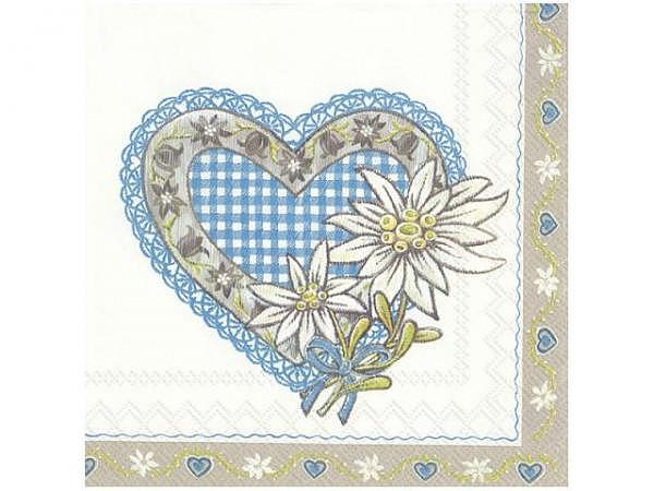 Servietten Ihr Lunch Lovely Edelweiss, blue 20Stk