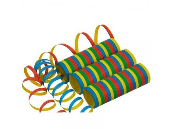 Luftschlangen bunt 3er Set Rolle à 4m 3 Rollen Luftschlangen