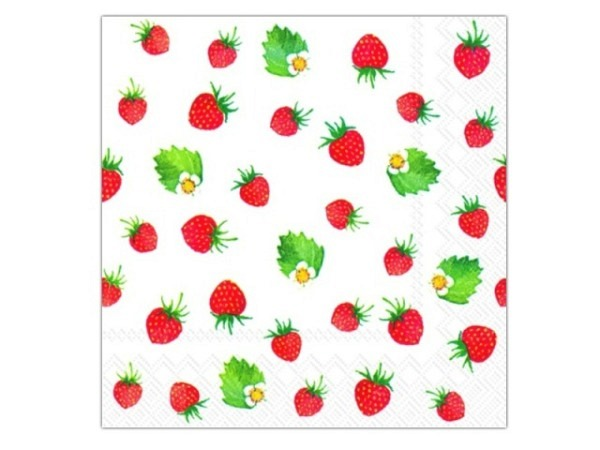 Servietten Ihr Cocktail Sweet Strawberries 20Stk. 25x25cm