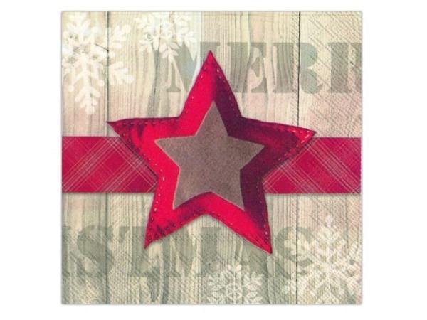 Servietten Ihr Lunch Felt Star rot/beige 20Stk. 33x33cm