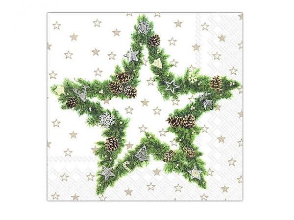 Servietten Ihr Cocktail Fir Tree Star white 20Stk. 25x25cm