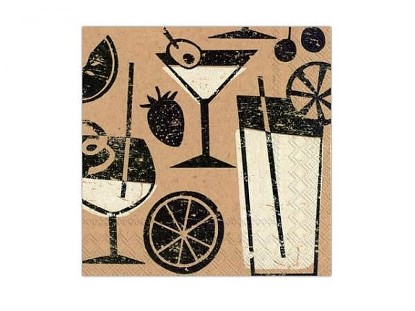 Servietten Ihr Cocktail Brown Paper Cocktail 20Stk. 25x25cm