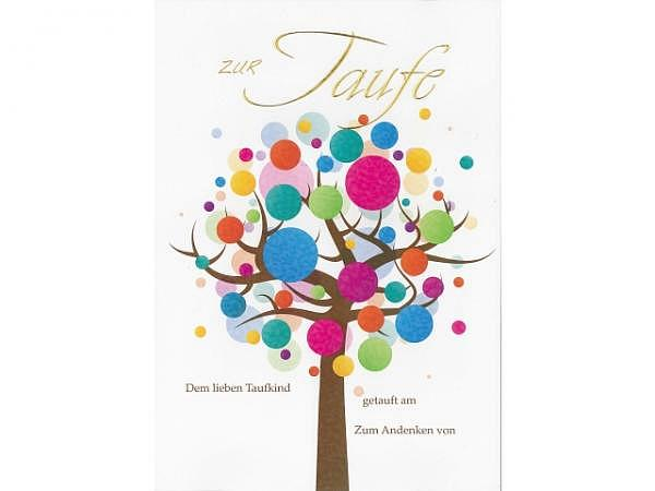 Taufrolle Borer Lebensbaum, verziert mit einem Baum A4
