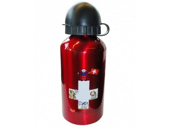 Trinkflasche Swiss Flag Alu klein 400ml, rote Aluflasche