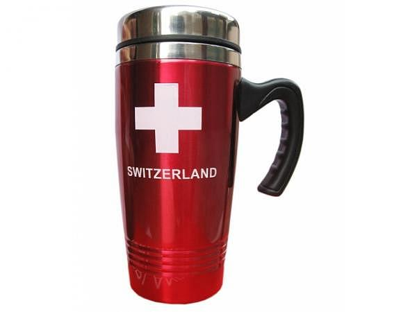 Tasse Switzerland Thermobecher Metall rot schwarzem Decke