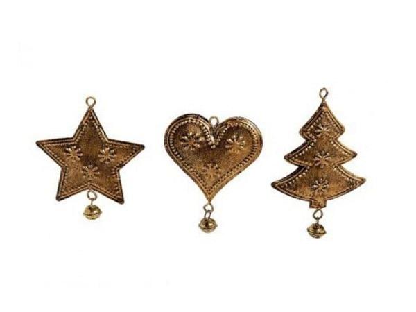 Deko Weihnachtsanhänger Bronze Herz, Tannenbaum oder Stern