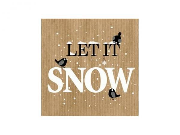 Servietten Braun Atelier Nordic Way Let it snow,  33x33cm