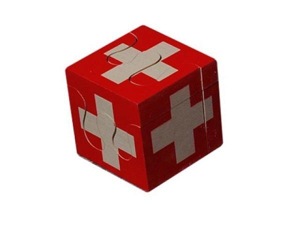 Puzzle Atelier Fischer Swiss Cube 4tlg. aus massivem Ahornholz,