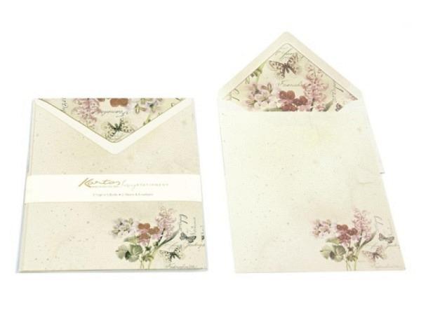 Briefpapier Caspari Orchid Show, 8 weisse Karten
