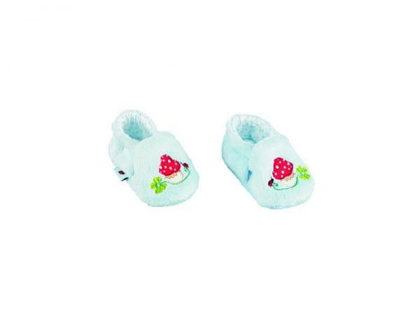 Babyschuhe Lieben Sieben hellblau, aus Plüsch mit Stickerei