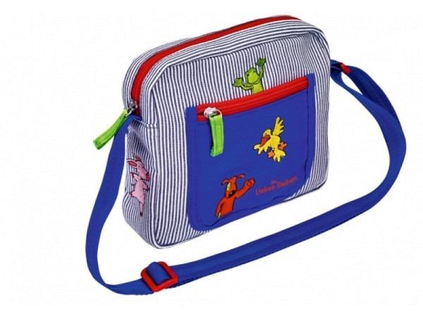Kindergartentasche Die lieben Sieben, ca. 21x19x5cm, hellblau gestreift mit Aufdruck, stufenlos vers