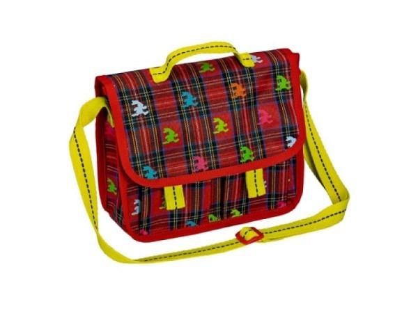 Kindergartentasche Felix, rot ca. 20x20x5cm, mit Karomuster und kleinen Felixfiguren bedruckt, ein A
