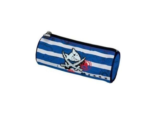 Schlamperetui Capt'n Sharky, Danger Pirate, rundes blau/weiss gestreiftes Etui mit Aufdruck des Logo
