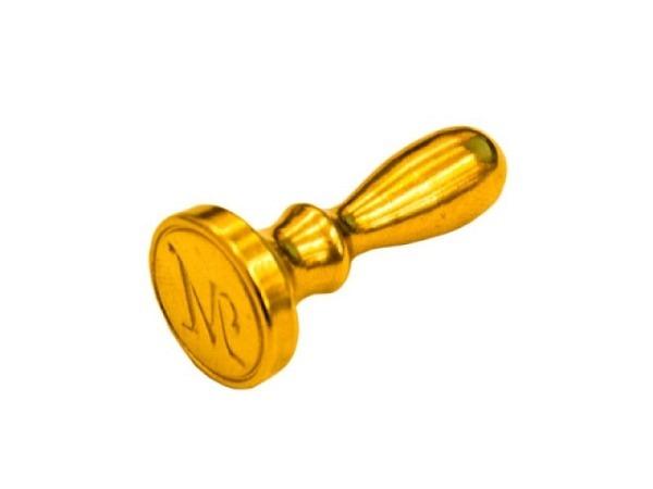 Petschaft Initialen Grossbuchstaben M Höhe: ca. 3,5cm, Durchmesser:  ca. 1,5cm, goldfarbener Metalls