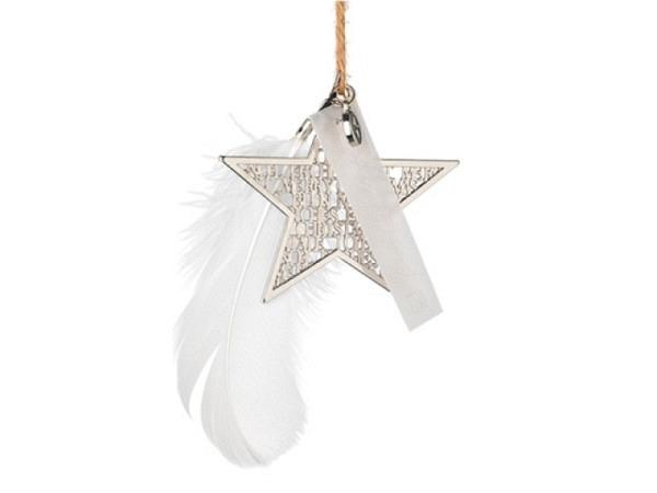 Deko Aufhänger Silberstern 8cm Frohe Weihnachten