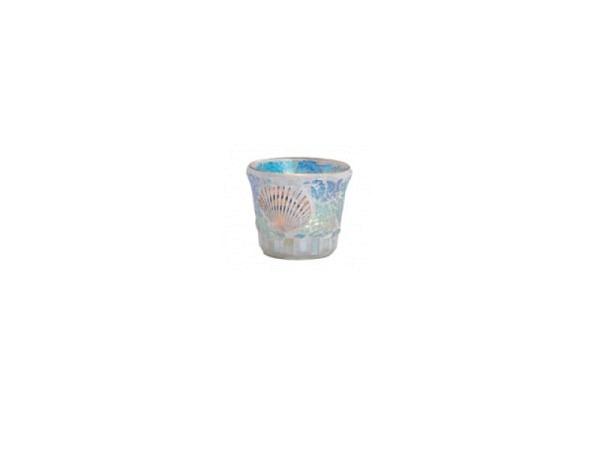 Windlicht mit blauem Glas Mosaik und einer Muschel, ca. 7cm