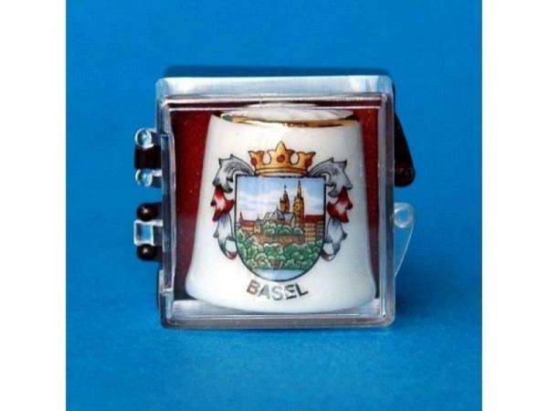 Fingerhut Basel weiss aus Keramik, Wappen der Stadt Basel