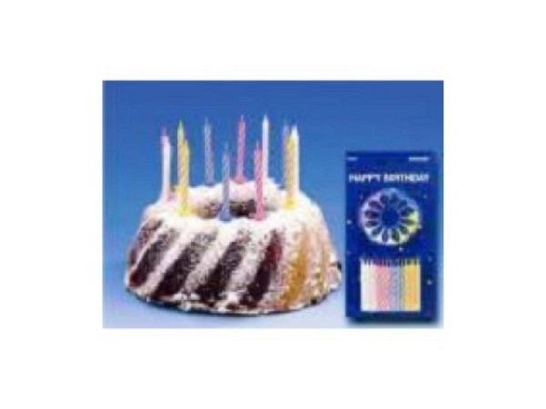 Kerze Geburtstagskerze mit Halterung 12 Kerzen
