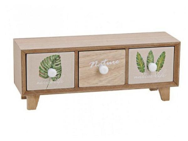 Kommode länglich mit drei Schubladen, aus hellfarbenem Holz
