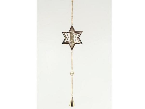 Deko Aufhänger gold mit Stern, 13x70cm