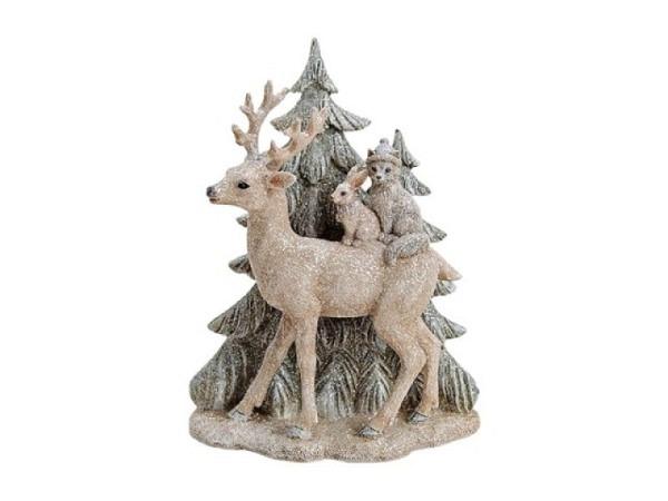 Deko Hirsch Winterwald Glitter mit Tieren