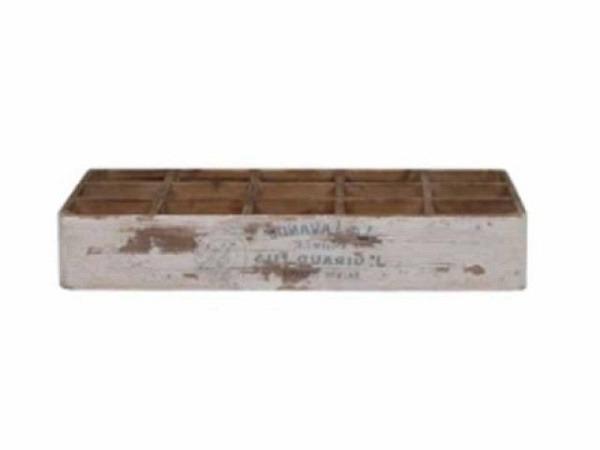 Holzbox Chic Antique weiss mit 15 Fächer, H8.5 L51 B31