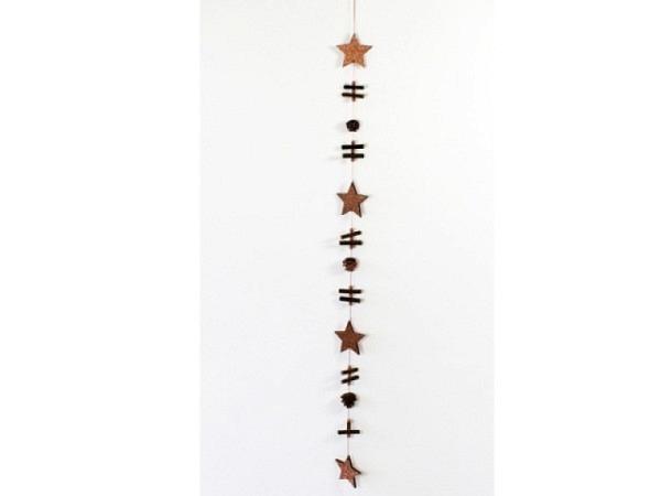 Deko Girlande Sterne mit Zapfen, 110cm lang, Holzteilen