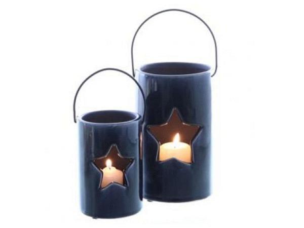 Windlicht Stern nachtblau glasiert