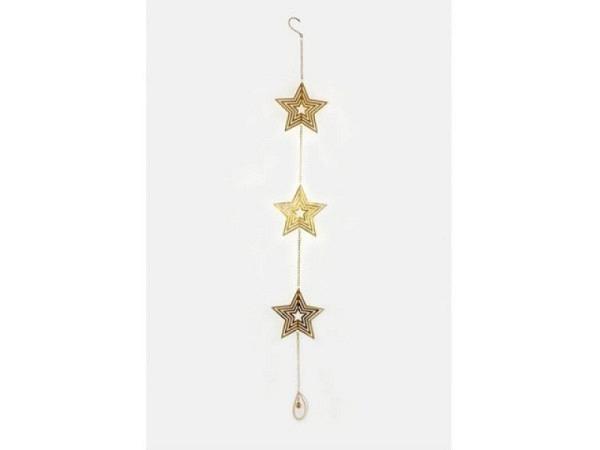 Deko Metallkette mit 3 Sternen gold zum aufhängen