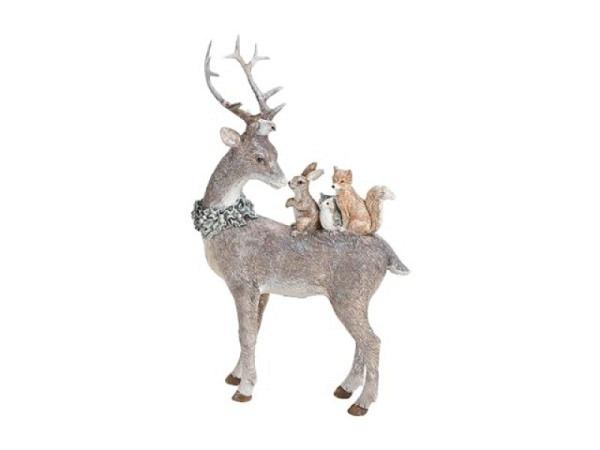 Deko Hirsch Glitter mit Hase Eule Fuchs aus Poly grau 16x26x5cm