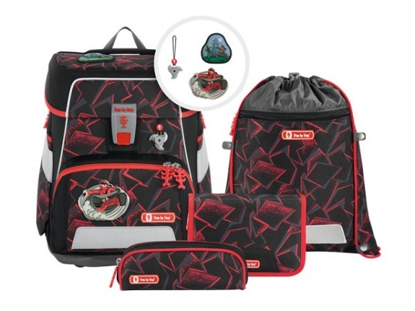 Schulthek Step by Step Touch 2 FLASH Fire Dragon 4-tlg. Set, Schulth..