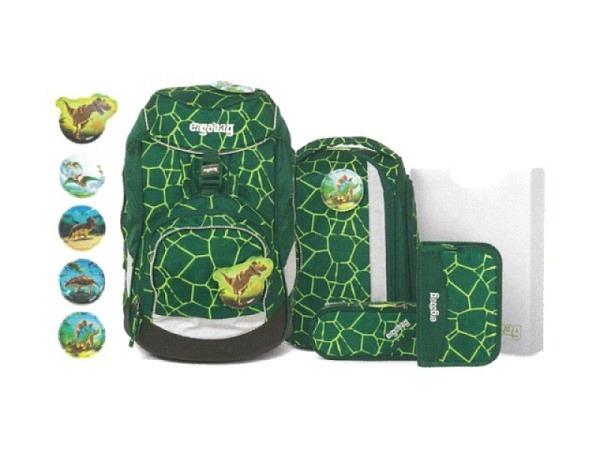 Rucksack Ergobag Pack BärRex dunkelgrün mit hellgrünen Linien Set 6tlg.