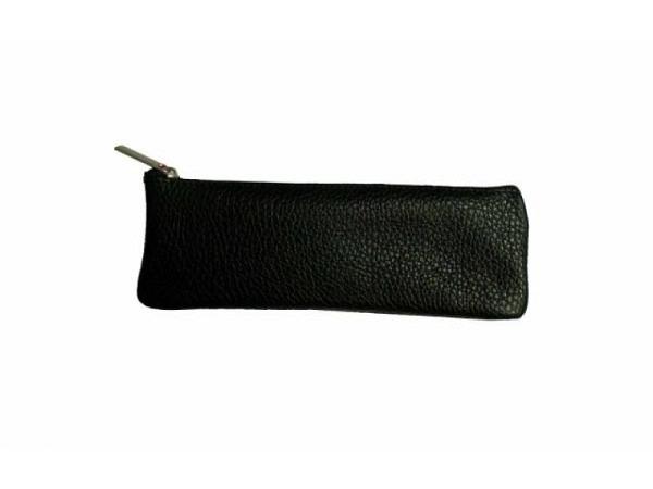 Schlamperetui ASL Africa Rindleder schwarz grob genarbt, eckige Form, 18x6,5x1,3cm, mit Reissverschl